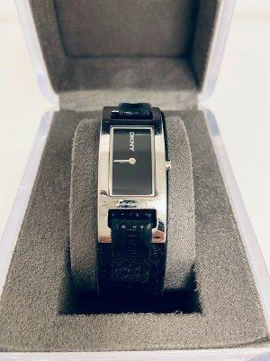 DKNY Reloj con pulsera de cuero negro-color plata tejido mezclado