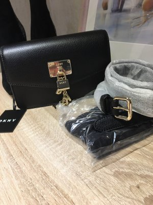 DKNY Bauchtasche / Gürteltasche schwarz Leder