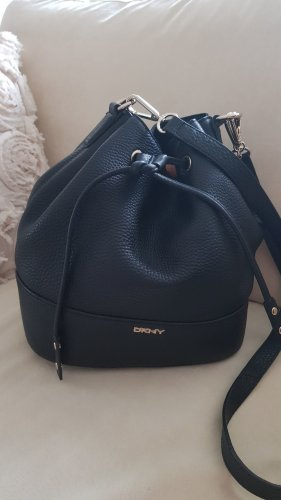 DKNY Beuteltasche Leder schwarz
