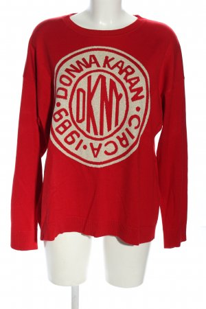 DKNY Fine Knit Jumper red-cream themed print casual look