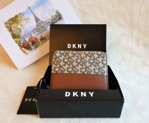 DKNY Geldbörse Geldbeutel Brieftasche Logo Braun Leder mit Orig. Box