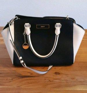 DKNY Handtasche, schwarz/creme, mit Schulterriemen