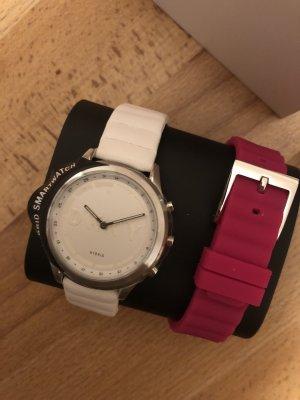 DKNY Horloge met lederen riempje wit-magenta