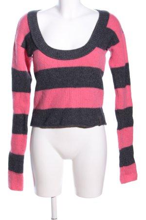DKNY Jeans Grobstrickpullover pink-hellgrau Streifenmuster Casual-Look