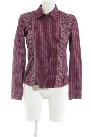 DKNY Jeans Langarm-Bluse purpur-sandbraun Streifenmuster Casual-Look