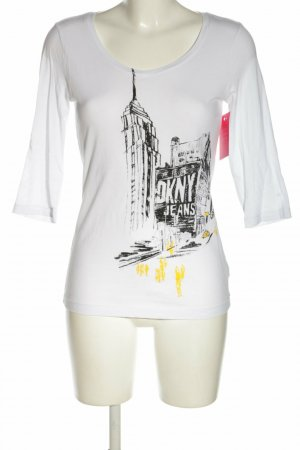 DKNY Jeans Longsleeve Langarmshirt New York Print weiß Gr. 38