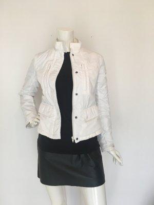 Dkny Jeans small s weiß fleece verstecke äußere Brusttaschen hüfttaschen kurz leicht warm figurbetont