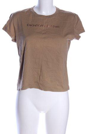 DKNY Jeans T-Shirt braun Schriftzug gedruckt Casual-Look