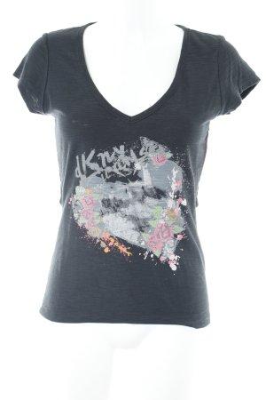 DKNY Jeans T-Shirt schwarz Motivdruck Street-Fashion-Look