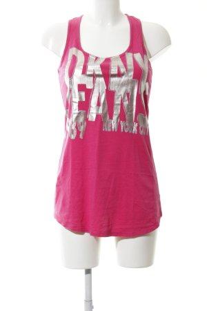 DKNY Jeans Tanktop pink-silberfarben Schriftzug gedruckt Casual-Look