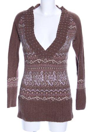 DKNY Jeans V-Ausschnitt-Pullover bronzefarben-wollweiß Allover-Druck
