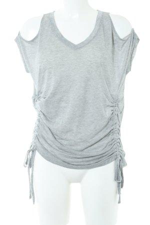 DKNY Jeans V-Ausschnitt-Shirt hellgrau meliert Casual-Look