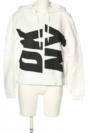 DKNY Sweat à capuche blanc-noir lettrage imprimé style décontracté