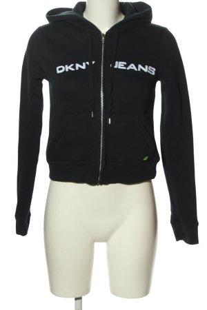 DKNY Sweat à capuche noir-blanc lettrage imprimé style décontracté