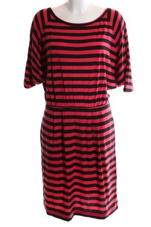 DKNY Kurzarmkleid rot-schwarz Streifenmuster Casual-Look