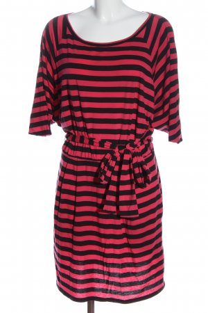 DKNY Kurzarmkleid schwarz-pink Streifenmuster Casual-Look
