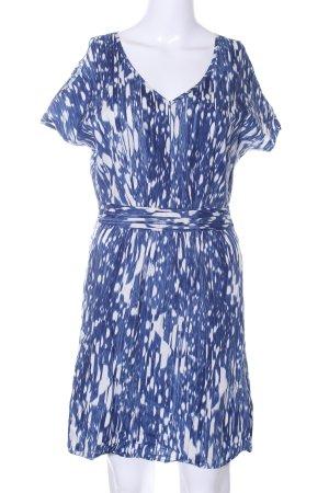 DKNY Kurzarmkleid blau-weiß abstraktes Muster Casual-Look