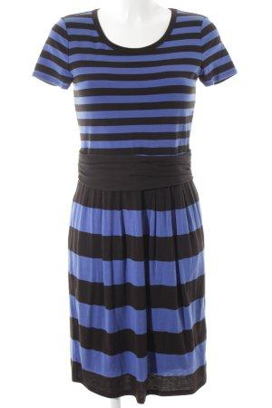 DKNY Kurzarmkleid schwarz-stahlblau Streifenmuster Casual-Look