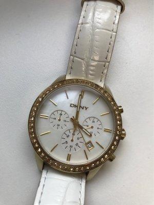 DKNY Montre avec bracelet en cuir blanc-doré