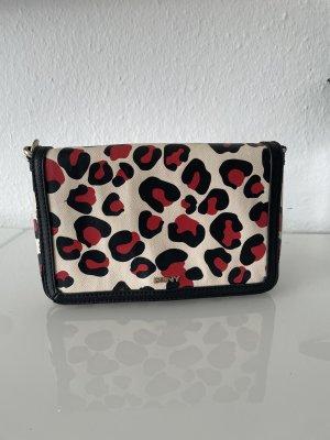 DKNY leopard Muster Umhängetasche schwarz rot creme