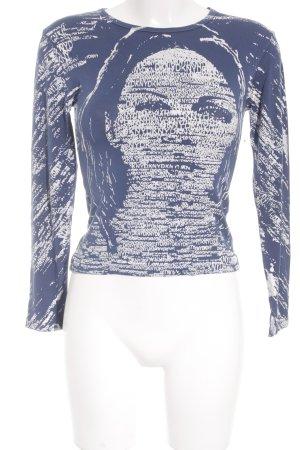 DKNY Longsleeve blau-weiß Motivdruck Casual-Look
