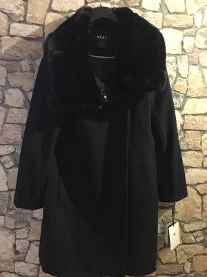 DKNY Mantel / Jacke schwarz mit Pelz