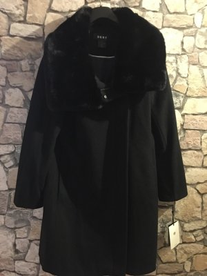 DKNY Jas van imitatiebont zwart