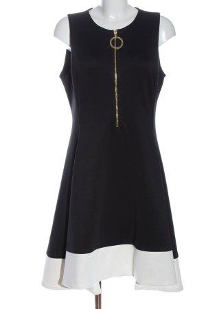 DKNY Vestido a media pierna negro-blanco look casual