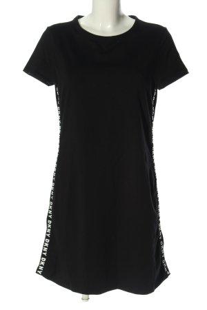 DKNY Minikleid schwarz-weiß Schriftzug gedruckt Casual-Look