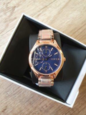 DKNY NY2661 Damenuhr neu rosè gold blau Edelstahl Armbanduhr
