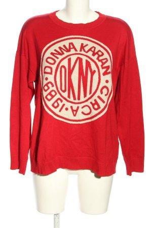 DKNY Rundhalspullover rot-weiß Motivdruck Casual-Look