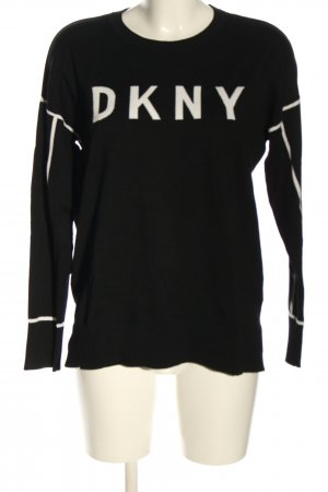 DKNY Jersey de cuello redondo negro-blanco estampado a rayas look casual