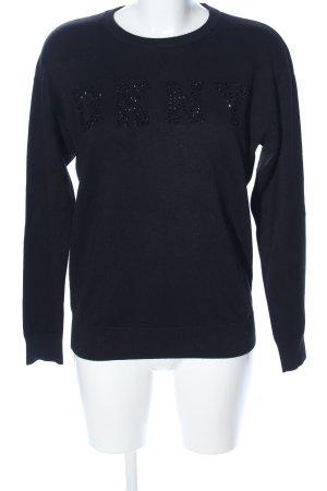 DKNY Rundhalspullover schwarz Schriftzug gedruckt Casual-Look
