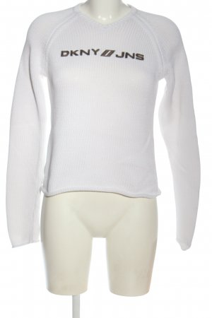 DKNY Pull ras du cou blanc lettrage brodé style décontracté