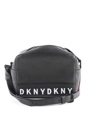 DKNY Schultertasche schwarz-weiß Schriftzug gedruckt Casual-Look