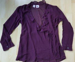 DKNY Blouse portefeuille violet foncé soie