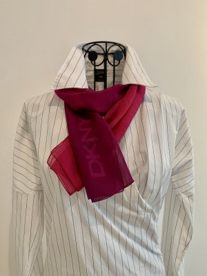 DKNY Jedwabny szal purpurowy-różowy Jedwab
