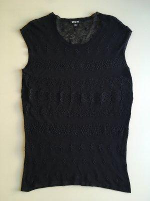 DKNY Shirt schwarz Spitze Stickerei