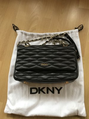 DKNY Shoulder Bag Black/Gold Lammleder, gesteppt