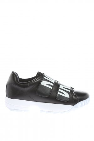 DKNY Velcro Sneakers black-white printed lettering casual look