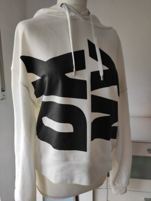 DKNY Hooded Sweatshirt white-black cotton
