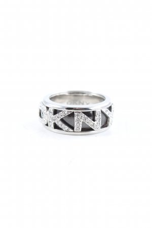 DKNY Statement Ring silver-colored-black glittery