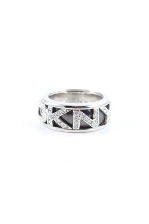 DKNY Statement ring zilver-zwart glitter-achtig
