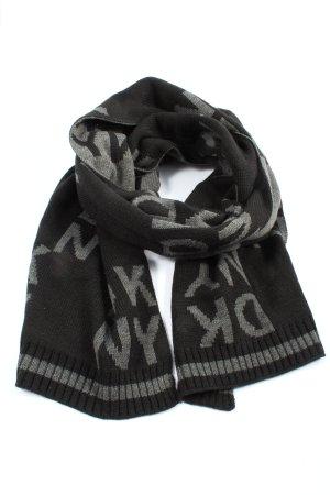 DKNY Strickschal schwarz-hellgrau Schriftzug gedruckt Casual-Look