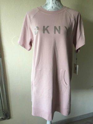 DKNY Sukienka dresowa stary róż-srebrny Bawełna