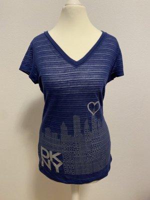 DKNY T-Shirt, dunkelblau mit silbernen DKNY-Logos