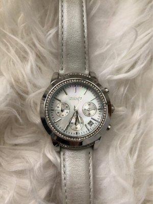 DKNY Horloge met lederen riempje zilver