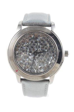 DKNY Orologio con cinturino di pelle grigio chiaro-argento stile casual