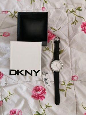 DKNY Horloge met lederen riempje zwart-zilver