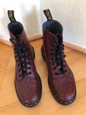 Doc Martens Botas de tobillo rojo amarronado-negro Cuero